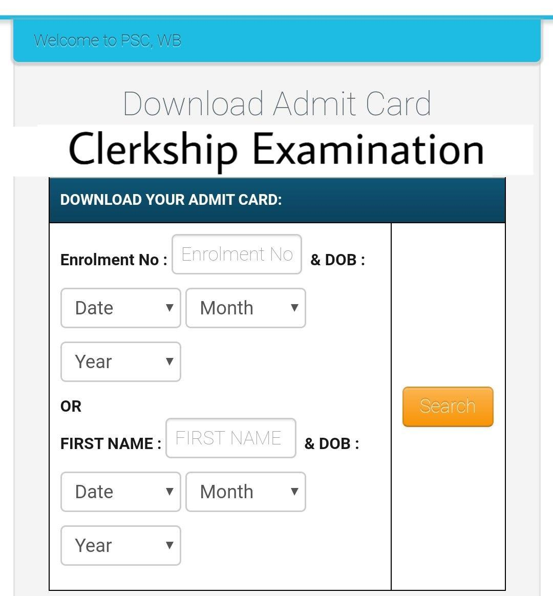 WBPSC Clerk Admit Card 2020 - West Bengal Public Service Commission Clerkship Exam Date, Call Letter Hall Ticket, Result Download
