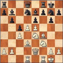 Partida de ajedrez Llorens vs. Ingelmo, posición después de 15.d5!