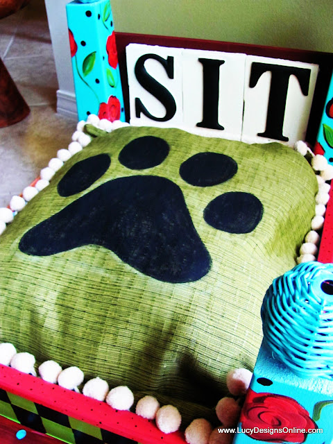 hand painted dog bed cushion