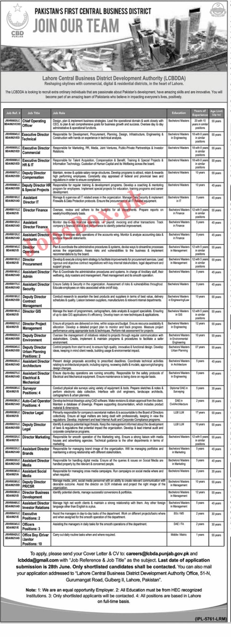 Lahore Central Business District Development Authority LCBDDA Jobs 2021 Latest Vacancies - Apply at careers@lcbda.punjab.gov.pk