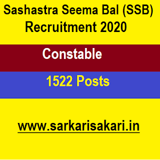 SSB Recruitment 2020 - Constable (1522 posts) Apply Online