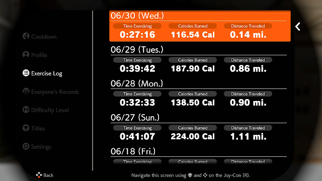 Ring Fit Adventure Exercise Fitness Log World Week 45 Extra Fitness Lv. 276