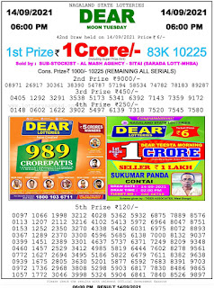 Nagaland State Lottery Result Today 6pm on 14.9.21