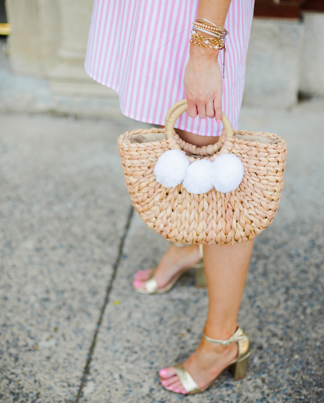 goodnight macaroon straw pom bag
