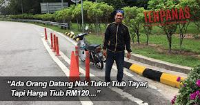 Thumbnail image for (Gambar) Tiub Tayar Berharga RM120, Lelaki Ini Tolak Motosikal Sejauh 200KM