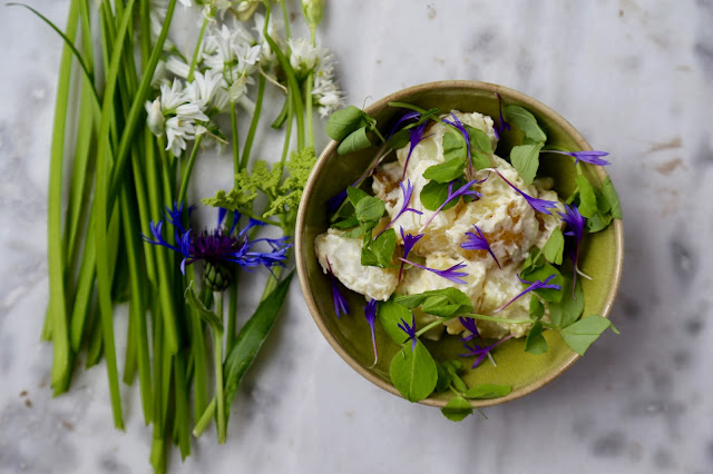 Three cornered leek and cornflower potato salad pic: kerstin Rodgers/msmarmitelover.com