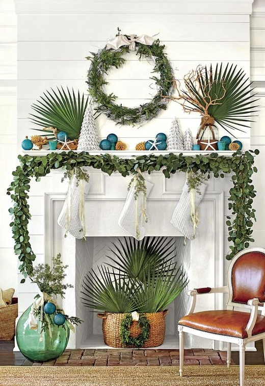 Southern Style Coastal Christmas Mantel Palm Greenery