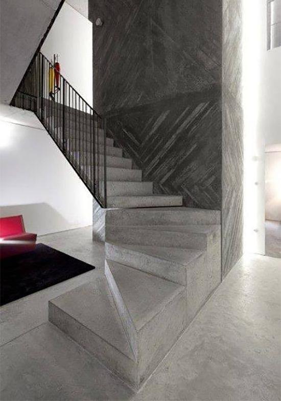8 gambar desain inspiratif tangga dari concrete beton