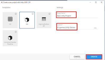Creating a new game in unity hub window
