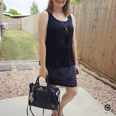 black and navy peplum tank and pencil skirt outfit with Rebecca Minkoff Regan bag | awayfromblue Instagram