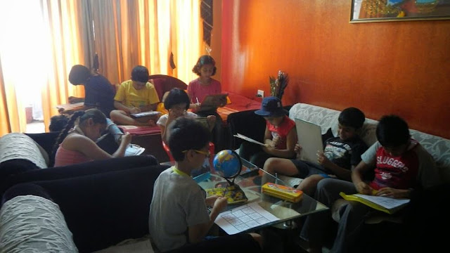 Kids giving Sudoku Test during The Science and Fun Learning Camp 2014