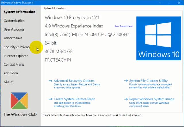 أداة Ultimate Windows Tweaker لجعل الويندوز 10 أسرع وحل بعض مشاكله
