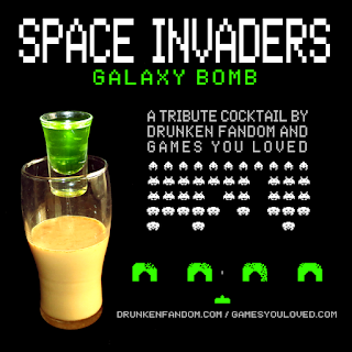 Space Invaders: Galaxy Bomb cocktail brought to you by Drunken Fandom and Games You Loved