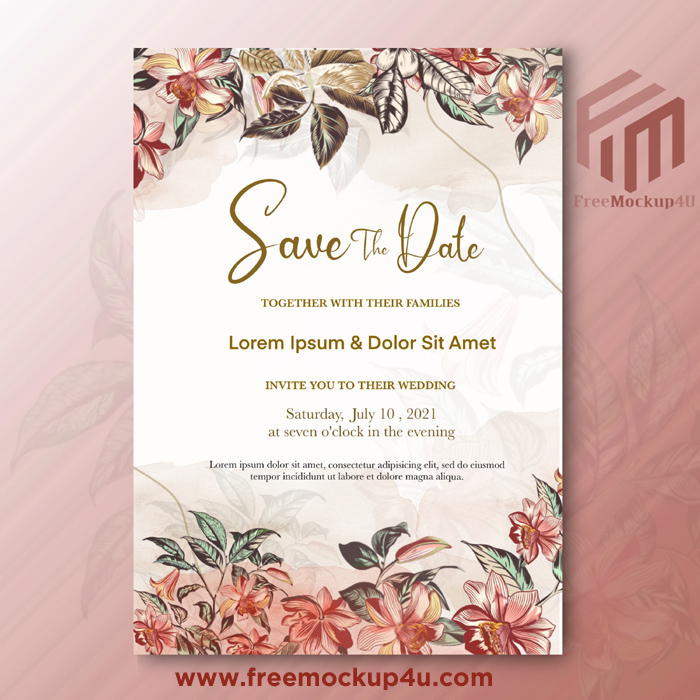 Beautiful Wedding Invitation With Red Flower