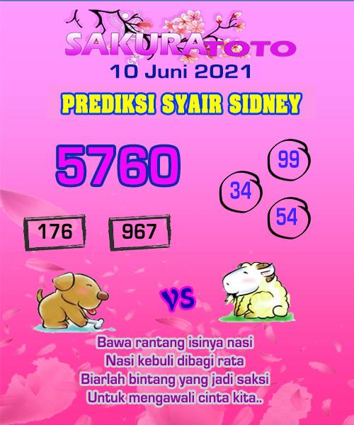 Syair Sakuratoto Sidney Kamis 10 Juni 2021