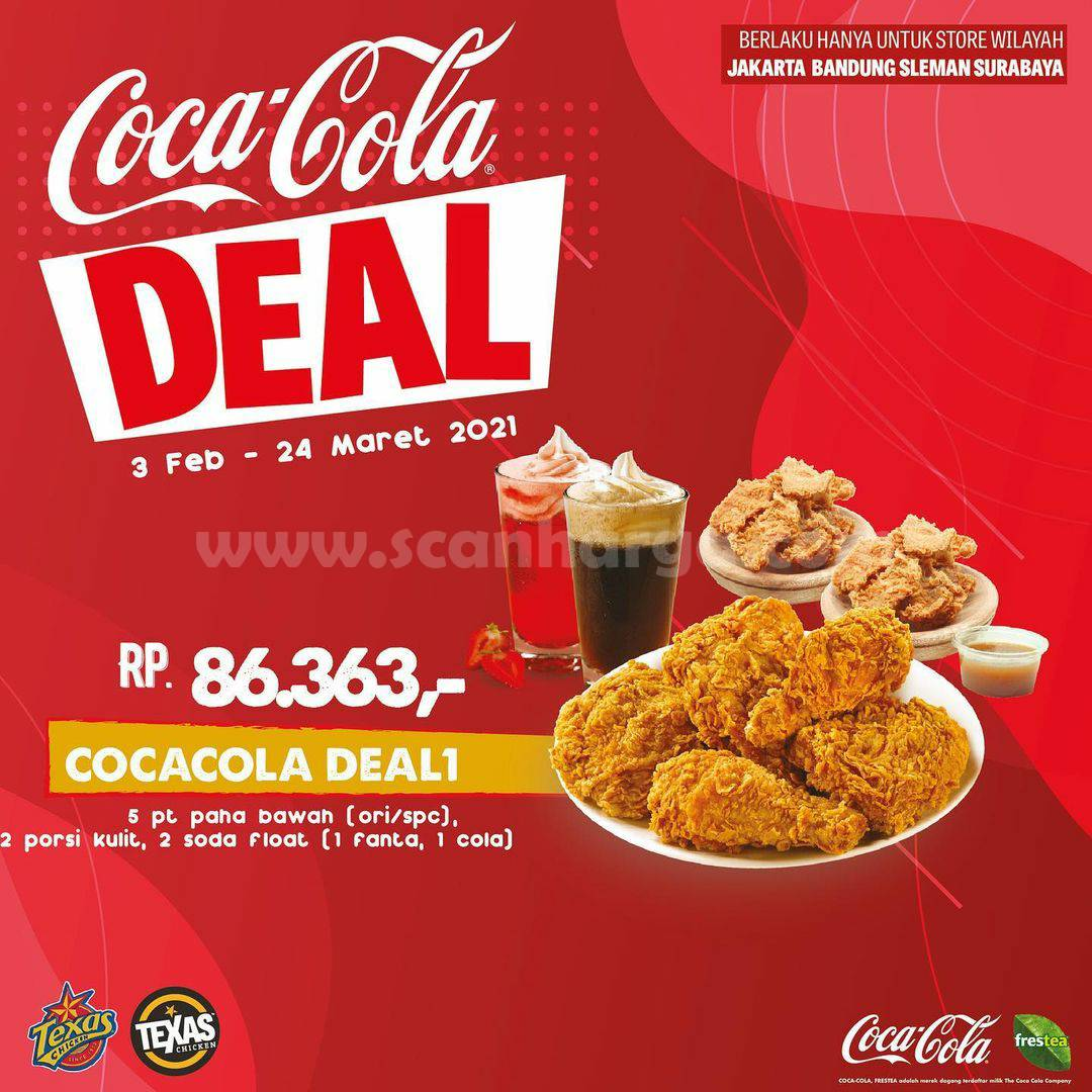 TEXAS CHICKEN Promo COCAL COLA DEAL harga mulai Rp 36.363