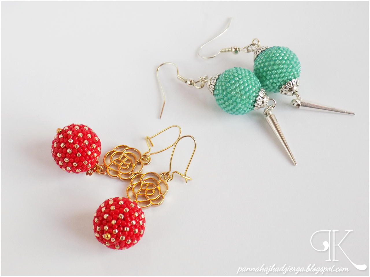 beaded ball, kolczyki, toho, earrings, gold, toho beads, złoto