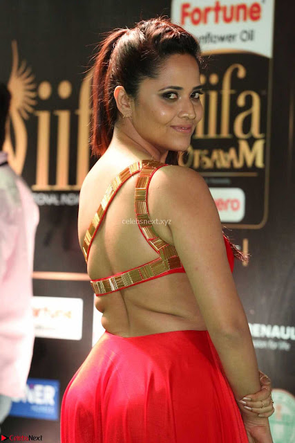 Anasuya in Red Single Shoulder Sleeveless Gown at IIFA Utsavam Awards 2017  Day 2  Exclusive 05.JPG