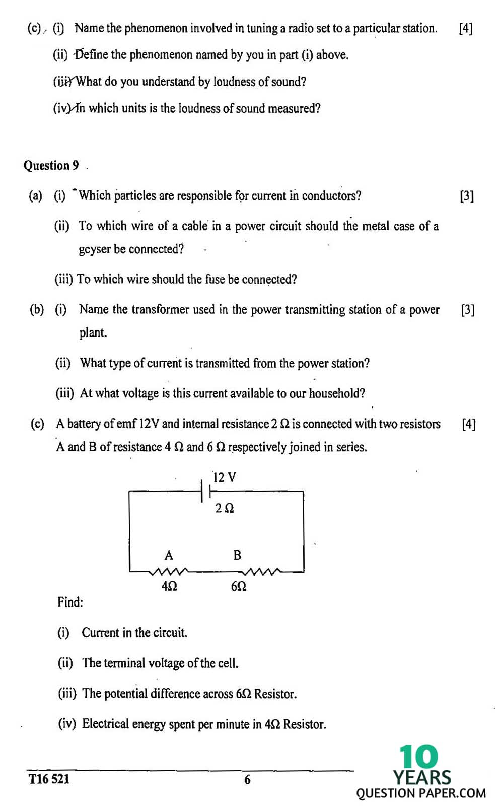 icse 2016 class 10th science physics paper 1 question paper