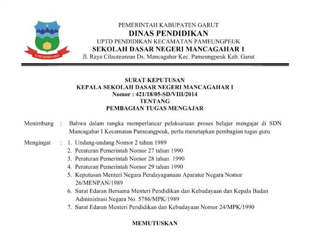 Surat Keputusan Bersama Kepala Sekolah dan Guru