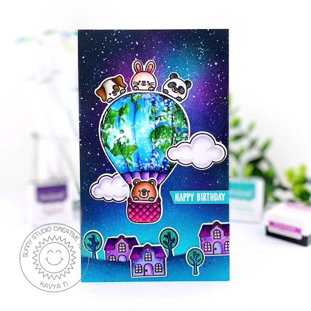 Sunny Studio Stamps: Balloon Rides Slimline Dies Inside Greetings Birthday Card by Kavya