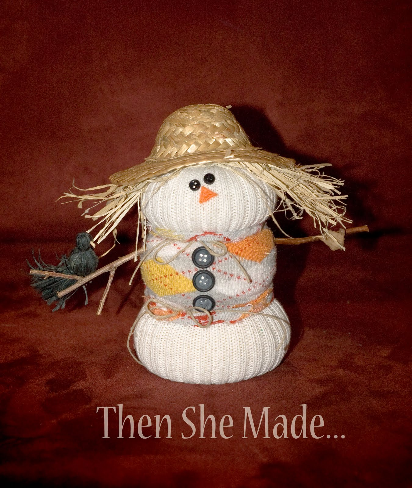 Then She Made...: Sock Scarecrow