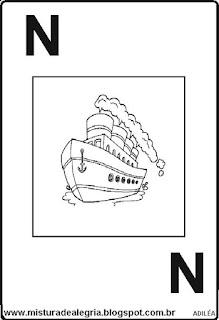 Baralho alfabético letra N