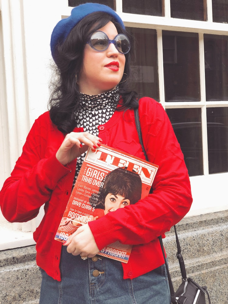 A Vintage Nerd, Vintage Blog, Retrostyle Blog, Vintage Blogger, Retrostyle Blogger, Sixties Blog, Sixties Fashion, Modern Retro Fashion, Plus-Size Fashion, Modcloth Heart Cardigan, Disabled Fashion, Fashion with Leg Braces, Sixties  Colorblock, Colorblock Fashion, 1960s Beret, Cury Fashion, Red and Blue Fashion, Vintage Magazine, Sixties Teen Magazine,  Donna Loren, Donna Loren Magazine Cover, July 1964, Vintage sunglasses, 1960s Sunglasses