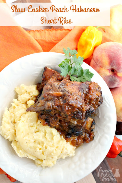 These sweet & spicy Slow Cooker Peach Habanero Short Ribs are the perfect fall comfort food & would make a tasty addition to that game day menu.