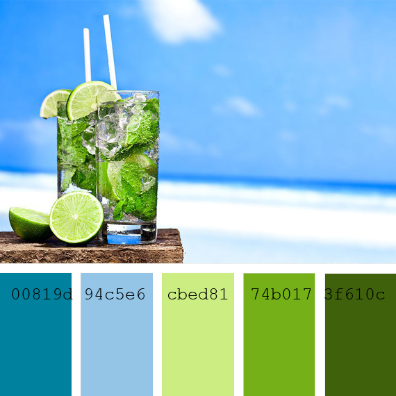 Pantone colors Caribbean Sea, lime, green lemon, cian blue