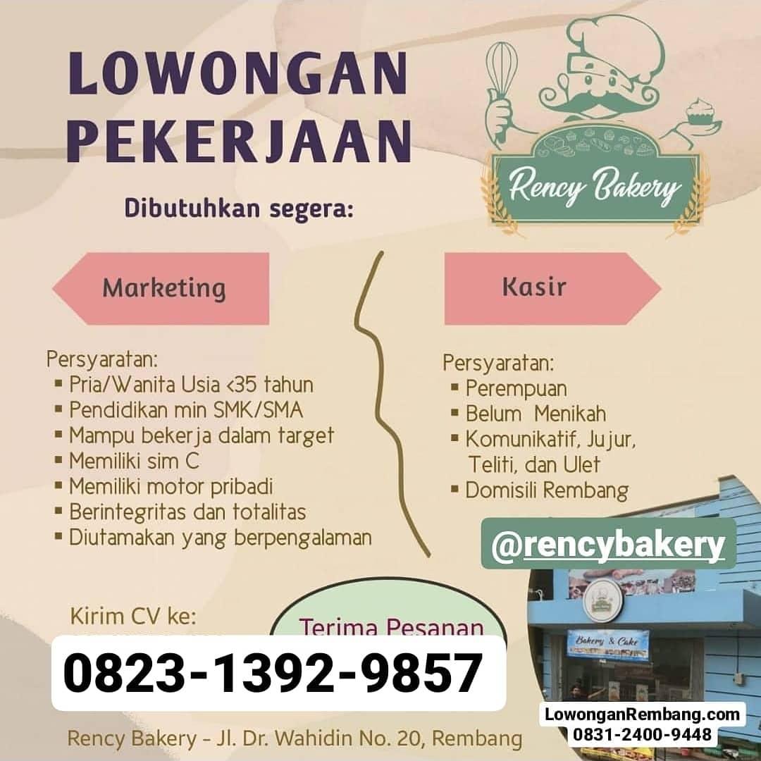 Lowongan Kerja Kasir Marketing Rency Bakery Rembang