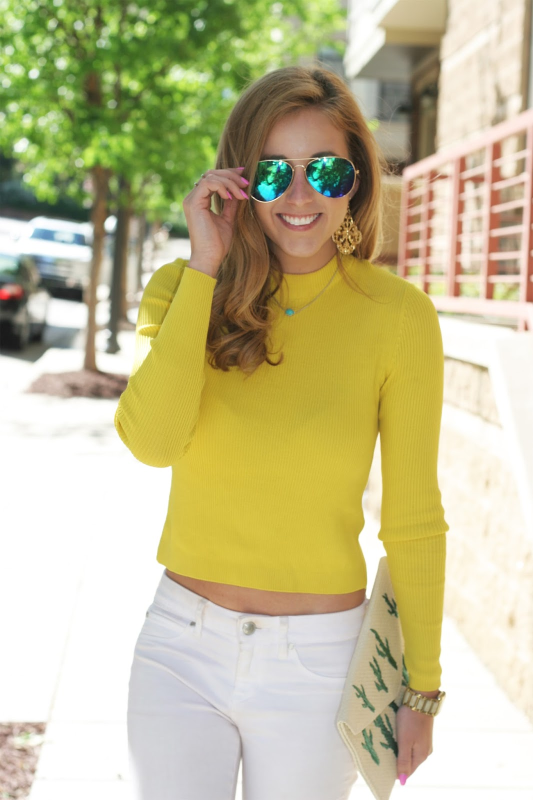 Fashion-blogger-headshot-mirrored-sunglasses-crop-top-and-cacti-clutch