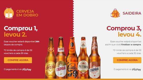 Promoção cerveja em dobro ou saideira grupo Petrópolis
