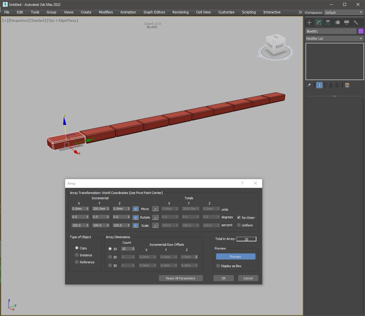 Array tool in 3Ds MAX clone instance
