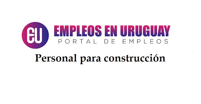 Personal para construcción Oficial finalista, oficial albañil, medio oficial y peón.