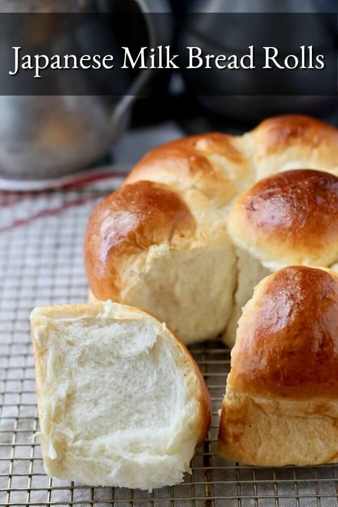 Fluffy Japanese Hokkaido Milk Bread Rolls in a cake pan