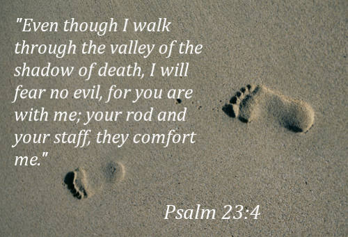 """Even though I walk through the valley of the shadow of death, I will fear no evil, for you are with me; your rod and your staff, they comfort me."" (Psalm 23:4, ESV)"