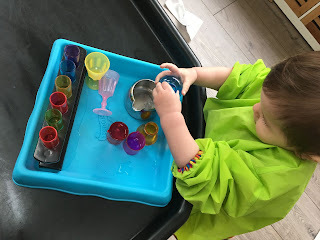 water tray with test tubes and water