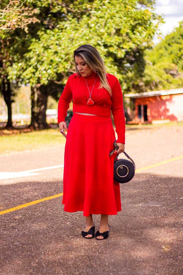 História da saia com bolsos: look do dia