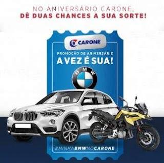 Promoção Carone Supermercados Aniversário 2019 Carro BMW e  Moto BMW