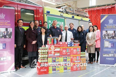 Donation of goods to a fire station in London