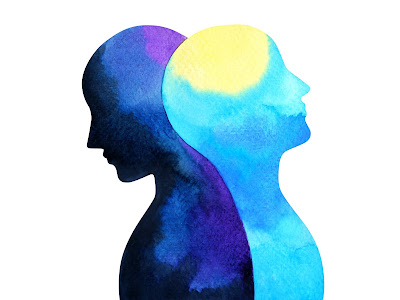 image of two thoughtful silhouette heads