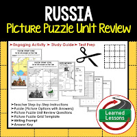 Russia, World Geography Picture Puzzle BUNDLE, Test Prep, Unit Review, Study Guide