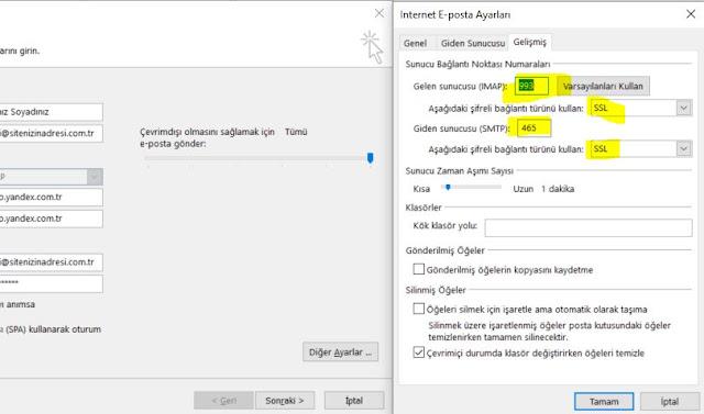 Outlook Gelen ve Giden Posta Sunucusu Portları ve Bağlantı Türü Seçimi.JPG