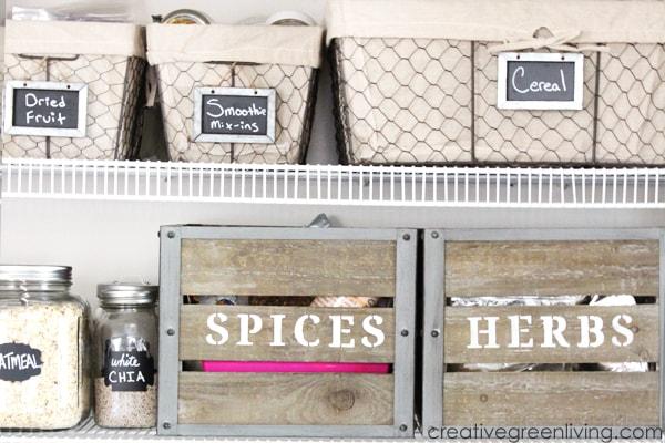 Pretty farmhouse style pantry organization makeover ideas