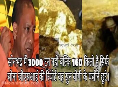 सोनभद्र मैं 3000 टन नहीं बल्कि 160 किलो है सिर्फ सोना जीएसआई की रिपोर्ट यह सुन योगी के पसीने छूटे
