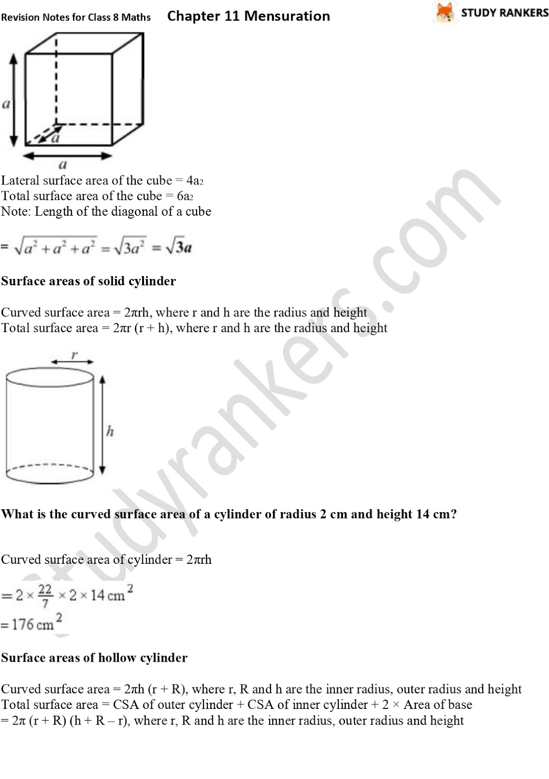 CBSE Revision Notes for Class 8 Chapter 11 Mensuration Part 4