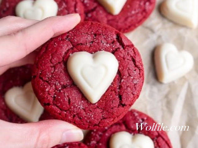 Red Velvet Sugar Cookies Recipe #Cookies #Valentine