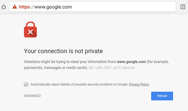 Fix connection isn't private error in Chrome