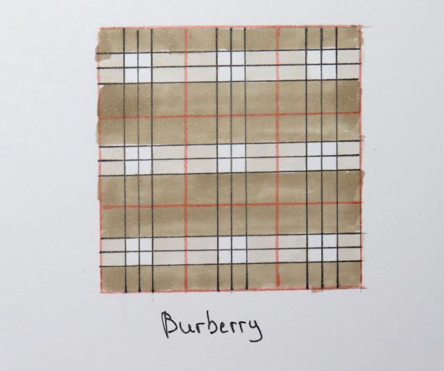 Se muestra el resultado final de cómo quedaría un estampado de cuadros Burberry dibujado en papel